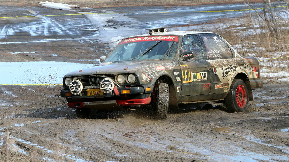 As the temperatures warmed during the day, the ice and snow melted, but Pitchblack Motorsports' Josh Hickey (Burke, Virginia) with co-driver James Spoth (Frederick, Maryland) took on the mud without hesitation at the 2017 Waste Management Winter RallySprint 2017. (Lori Lass Photography)
